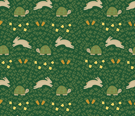 slow poke bunny race fabric by jarstudio on Spoonflower - custom fabric