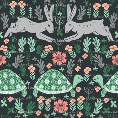 Tortoise and Hare - linocut print by Andrea Lauren