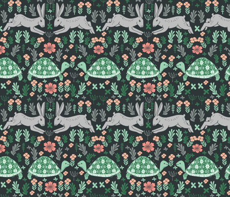 Tortoise and Hare - linocut print by Andrea Lauren fabric by andrea_lauren on Spoonflower - custom fabric