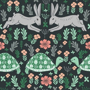 Tortoise and Hare - linocut print by Andrea Lauren