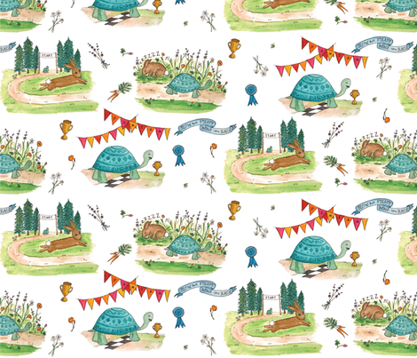 Slow and Steady in Watercolor fabric by laurenjdelgado_ on Spoonflower - custom fabric