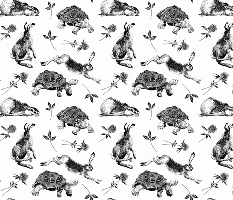 Hase und Schildkröte fabric by malinr92 on Spoonflower - custom fabric