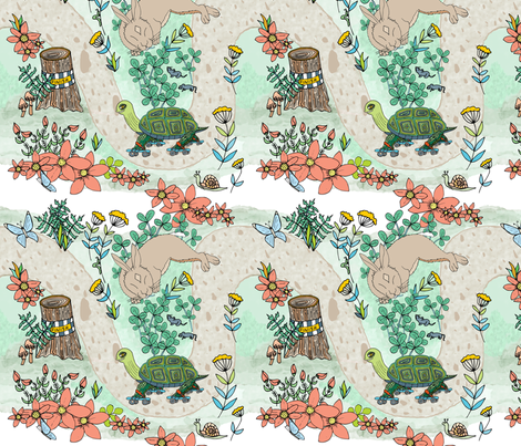 Tortoise Rollerskating, Hare in Clover fabric by palifino on Spoonflower - custom fabric