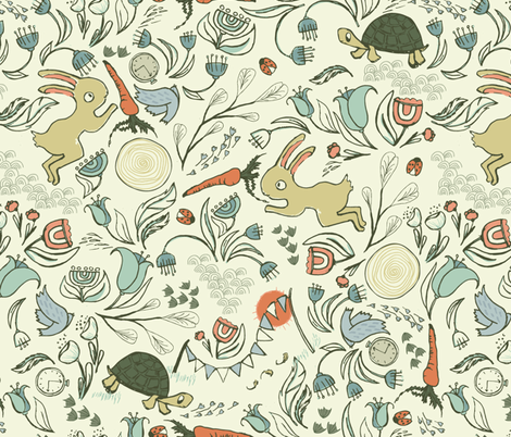 StoryBook Tortoise & Hare fabric by mintedtulip on Spoonflower - custom fabric