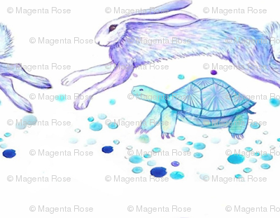 Tortoise and the Hare in watercolor