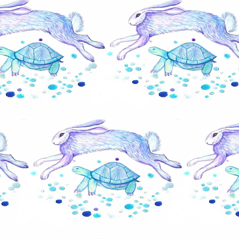 Tortoise and the Hare in watercolor fabric by magentarosedesigns on Spoonflower - custom fabric