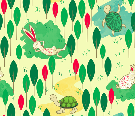 hare and tortoise fabric by artypeaches on Spoonflower - custom fabric