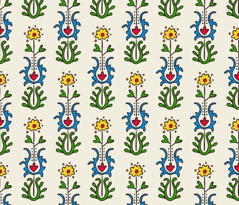 Folkloric Embroidered Stripe White/Brights fabric by kristin_nicholas on Spoonflower - custom fabric