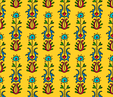 Folkloric Embroidered Stripe Yellow/Red fabric by kristin_nicholas on Spoonflower - custom fabric