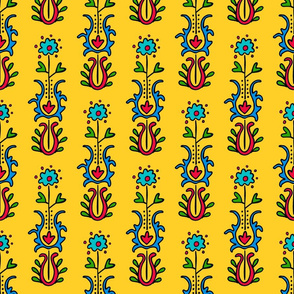 Folkloric Embroidered Stripe Yellow/Red