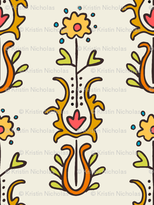 Folkloric Embroidered Stripe White/Neutrals
