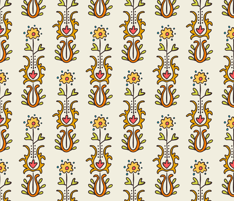 Folkloric Embroidered Stripe White/Neutrals fabric by kristin_nicholas on Spoonflower - custom fabric