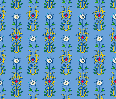 Folkloric Embroidered Stripe Blue/Yellow fabric by kristin_nicholas on Spoonflower - custom fabric