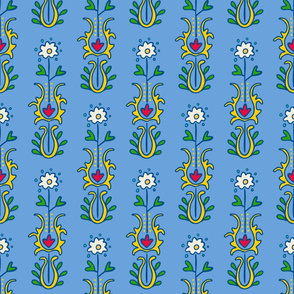 Folkloric Embroidered Stripe Blue/Yellow