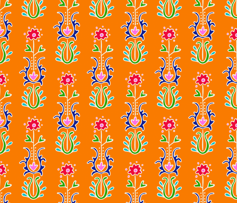 Folkloric Suzani Stripe Orange White fabric by kristin_nicholas on Spoonflower - custom fabric