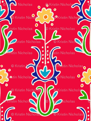 Folkloric  Suzani Stripe Red/White