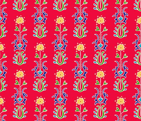 Folkloric  Suzani Stripe Red/White fabric by kristin_nicholas on Spoonflower - custom fabric