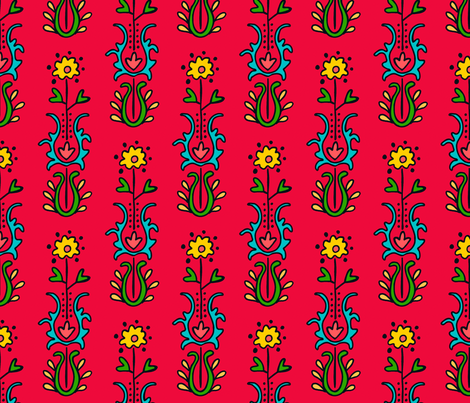 Folkloric Embroidered Stripe Red/Black fabric by kristin_nicholas on Spoonflower - custom fabric