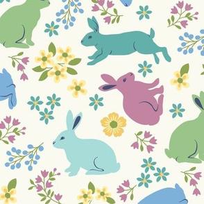 Springtime Bunnies on White