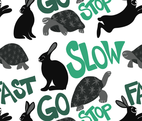 Fast Hare & Slow Turtle fabric by cillacrews on Spoonflower - custom fabric