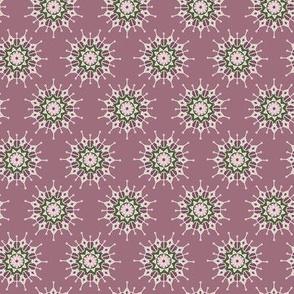 Mandala Circles in Pink Rose and Olive Green