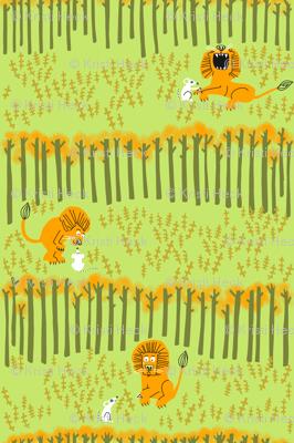 lion + mouse_SCENE in celery green