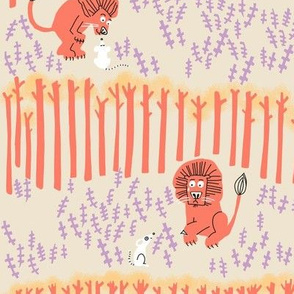 lion + mouse_SCENE in pale pink