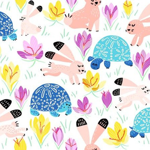 Spring with blue Tortoise and peachy Hare (white)