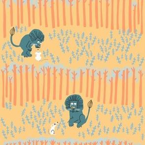 lion + mouse_SCENE in peach 1