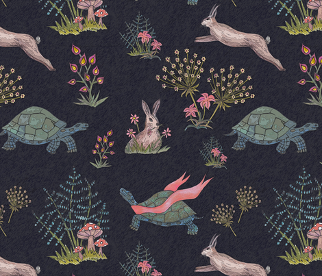 tortoise and hare fabric by lucybaribeau on Spoonflower - custom fabric