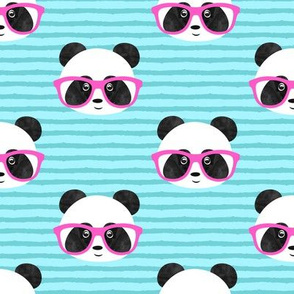 pandas with pink glasses