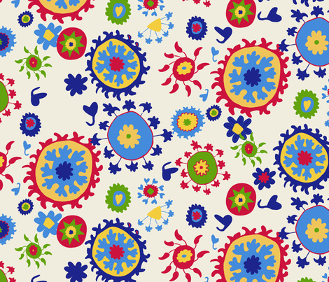 Suzani Overall Pattern - White, Red, Blue, Green, Yellow fabric by kristin_nicholas on Spoonflower - custom fabric