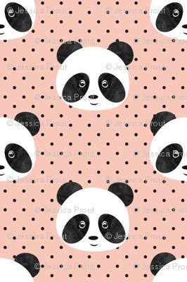 pandas on salmon peach polka