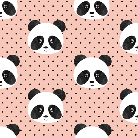 pandas on salmon peach polka fabric by littlearrowdesign on Spoonflower - custom fabric