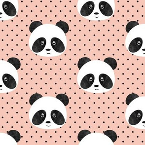 pandas on salmon peach polka