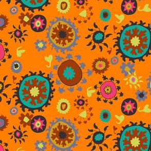Suzani Overall Pattern - Orange/Teal/Celery/Pink