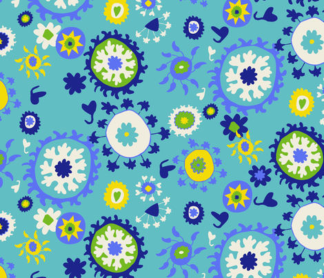 Suzani Overall Print - Turquoise/Blue/Yellow fabric by kristin_nicholas on Spoonflower - custom fabric