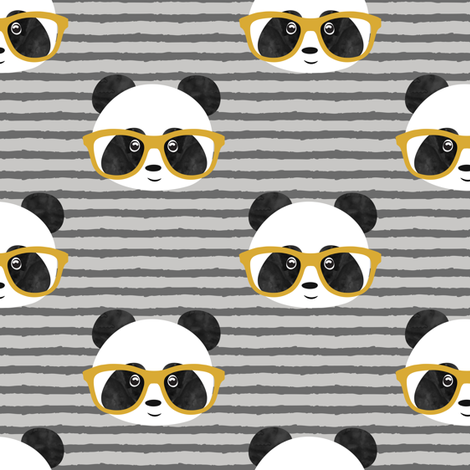 pandas with glasses - grey stripes gold fabric by littlearrowdesign on Spoonflower - custom fabric