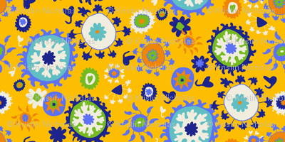Suzani Overall Print - Yellow/Blue