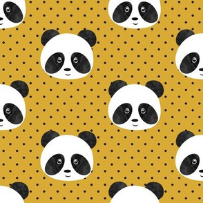 panda on mustard polka dots