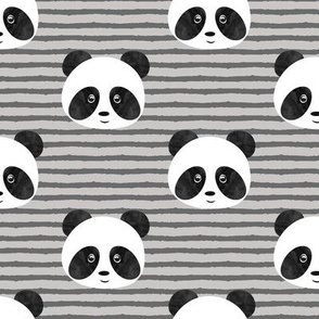 pandas on grey stripes