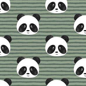 Panda on sage stripes
