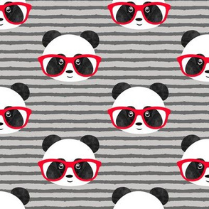 pandas with glasses - grey stripes red