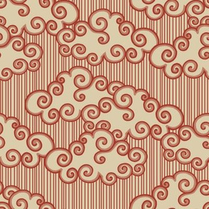 Forest Cottage Clouds - Red Stamp