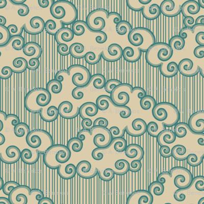 Forest Cottage Clouds - Teal Stamp