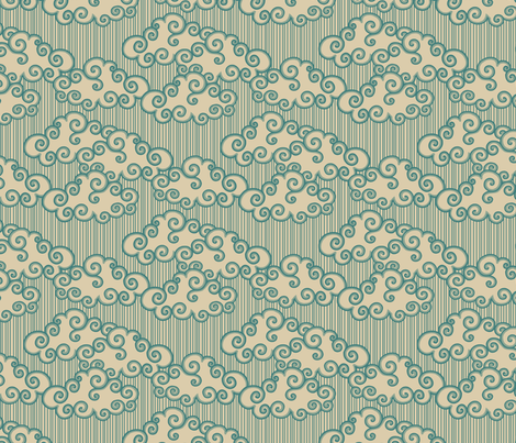 Forest Cottage Clouds - Teal Stamp fabric by siya on Spoonflower - custom fabric