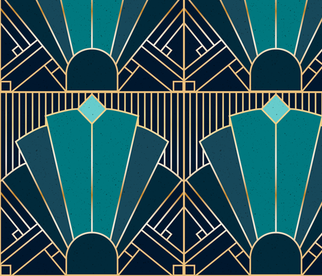 Art Deco in Teal fabric by elysesanderson on Spoonflower - custom fabric