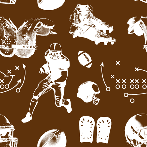 American Football // Brown // Large fabric by thinlinetextiles on Spoonflower - custom fabric