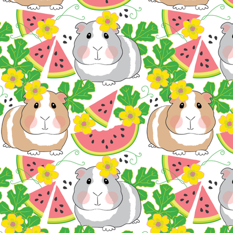 guinea-pigs-in-a-watermelon-patch fabric by lilcubby on Spoonflower - custom fabric