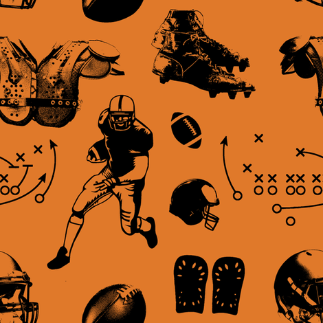 American Football // Orange // Large fabric by thinlinetextiles on Spoonflower - custom fabric